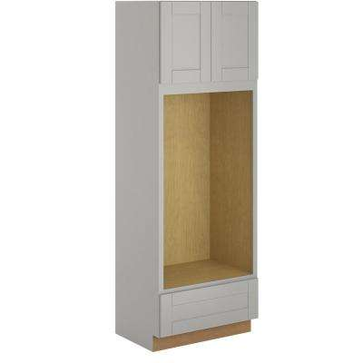 Princeton Shaker Assembled 33x96x24 in. Pantry/Utility Double Oven Cabinet in Warm Grey