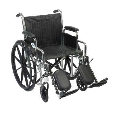 Chrome Sport Wheelchair with Detachable Desk Arms and Elevating Leg Rests