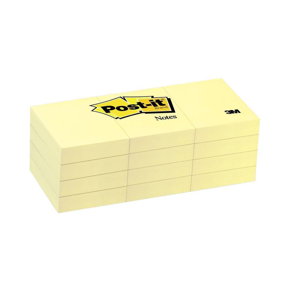 3m Post It 1 5 In X 2 In Canary Yellow Notes 3 Packs Of 12 Pads