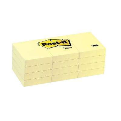 Post-It 1.5 in. x 2 in. Canary Yellow Notes (1-Pack of 12-Pads)