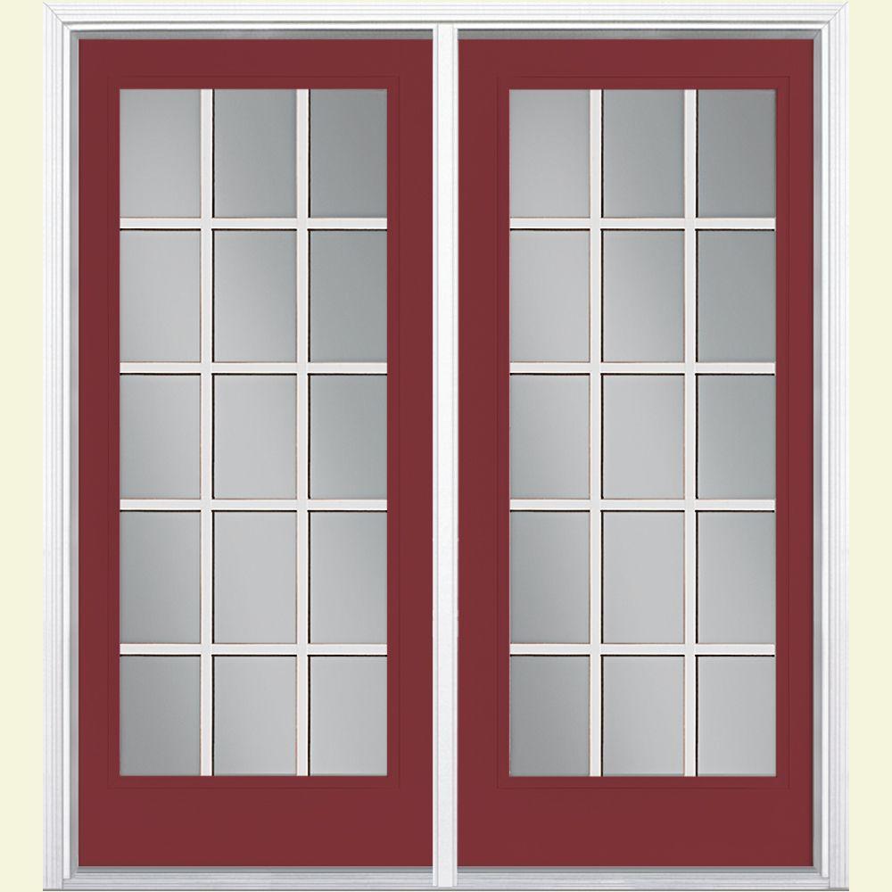 Masonite 72 in. x 80 in. Red Bluff Prehung Left-Hand Inswing 15 Lite GBG Fiberglass Patio Door with Brickmold
