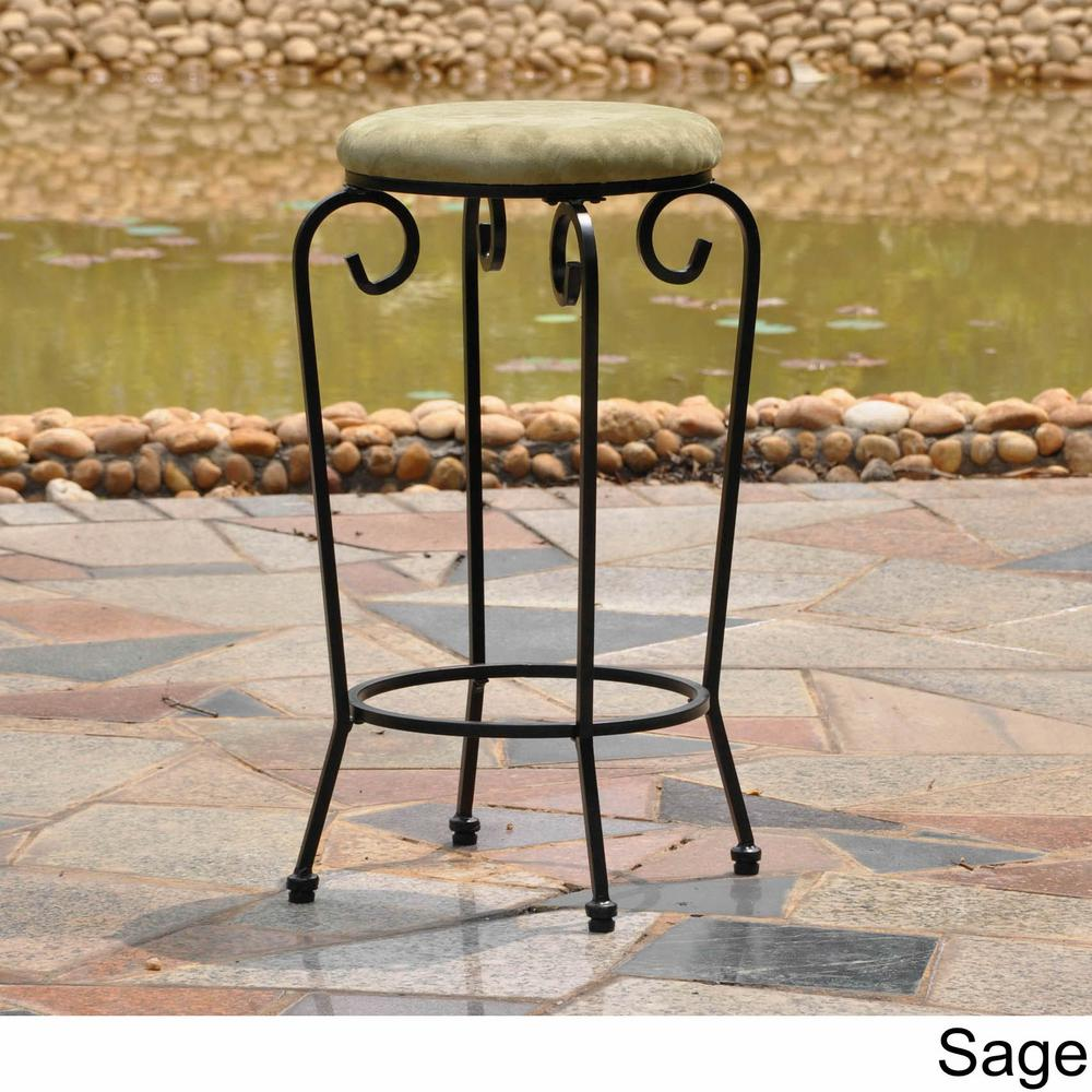 International Caravan Iron 29 in. Black Mat Bar Stools with Sage
