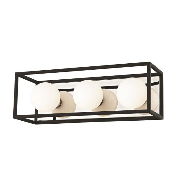 Aira 3-Light Polished Nickel 15 in. WLED Bath Light with Opal Etched Glass and Black Accents