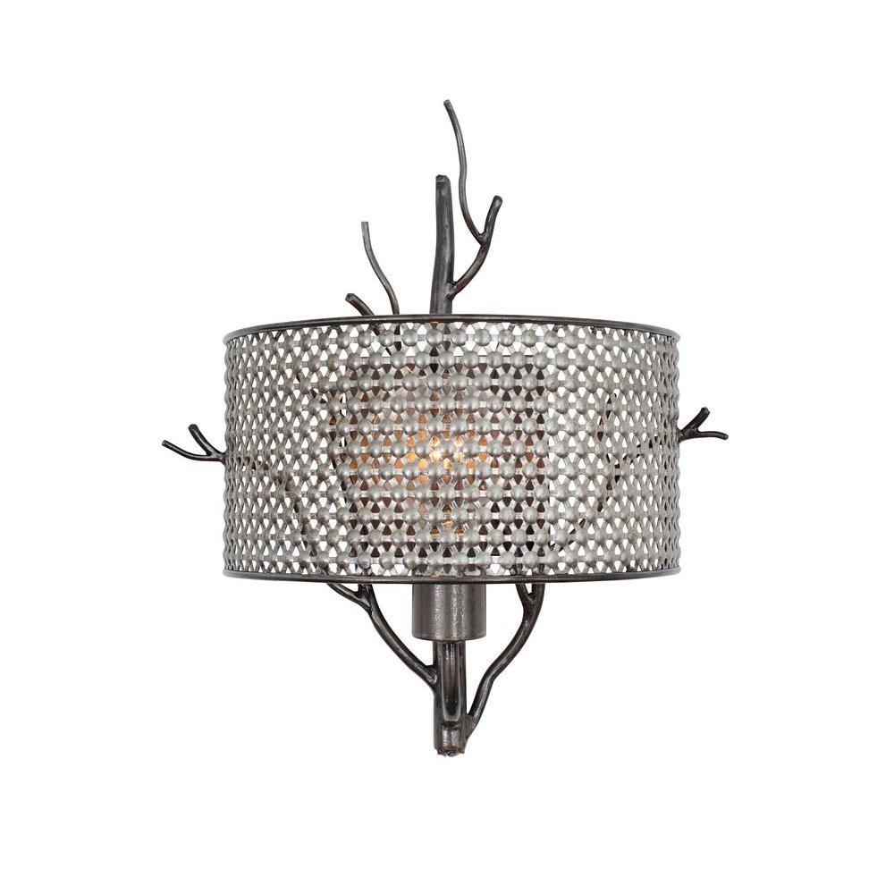 Varaluz Treefold 1-Light Steel Sconce with Recycled Steel Mesh