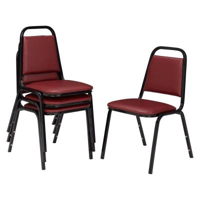 9100 Series Pleasant Burgundy Vinyl Upholstered Stack Chair (4-Pack)