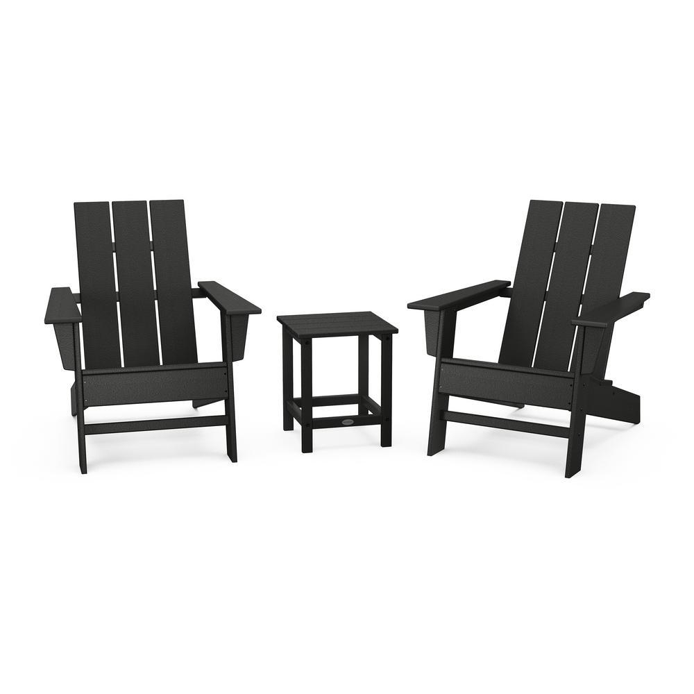 Grant Park Black Plastic Outdoor Patio Adirondack Chair Set (3-Piece)