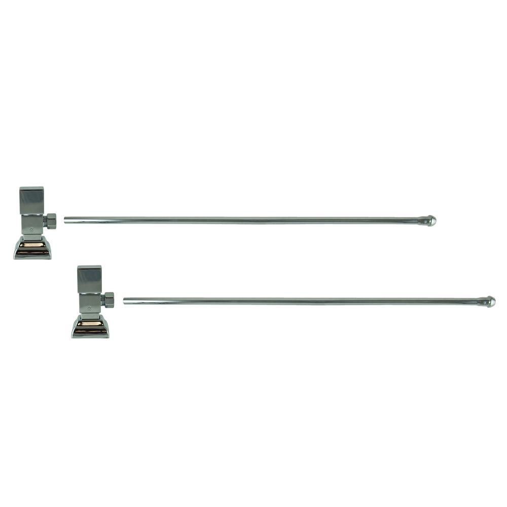 3/8 in. O.D x 20 in. Brass Rigid Lavatory Supply Lines with Square Handle Shutoff Valves in Polished Chrome Barclay provides all your essential bathroom needs. Enjoy the convenience of accessible water shut-off with these decorative lavatory supplies. Choose from 4 designer finishes. Color: Polished Chrome.
