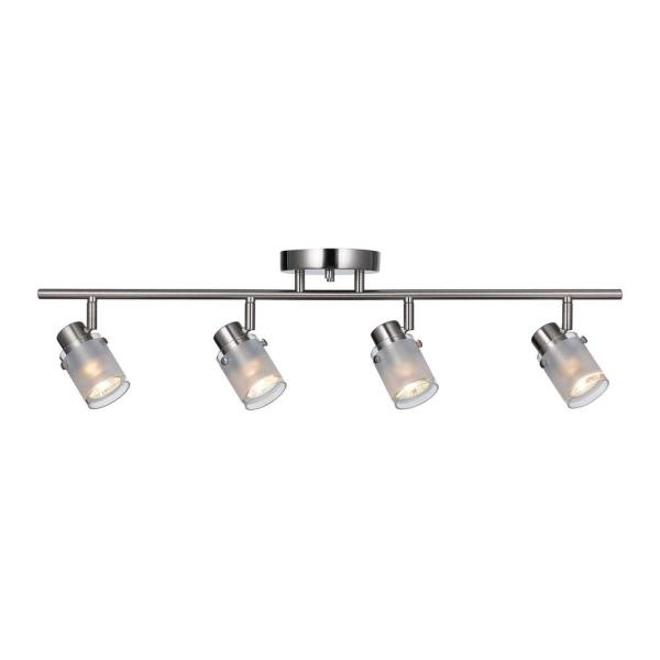 29 in. Brushed Nickel GU10 Fixed Track Light Kit with Frosted Glass Shades