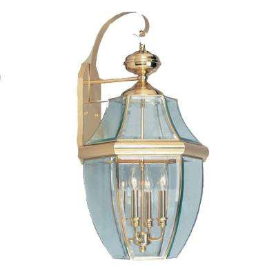 Wall-Mount 4-Light Polished Brass Outdoor Incandescent Lantern