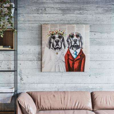 """32 in. x 32 in. """" Mr. & Mrs."""" Hand Painted Canvas Wall Art"""