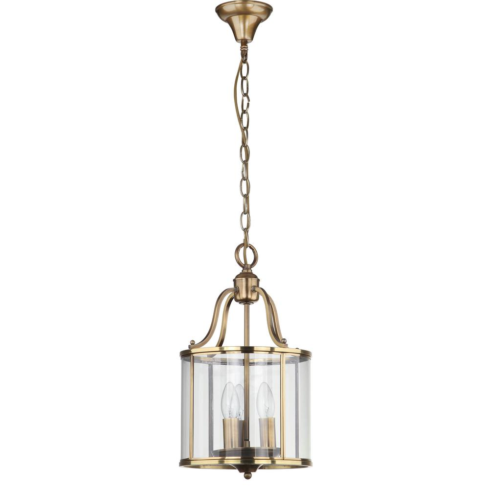Safavieh Sutton Place 3-Light Brass Small Pendant with Clear Shade