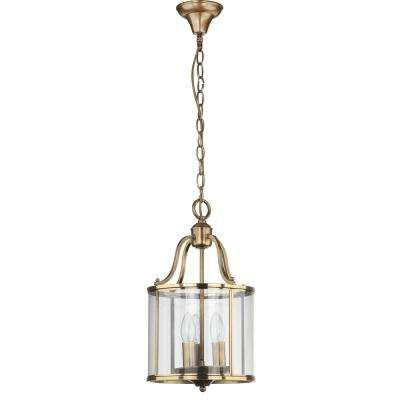 Sutton Place 3-Light Brass Small Pendant with Clear Shade