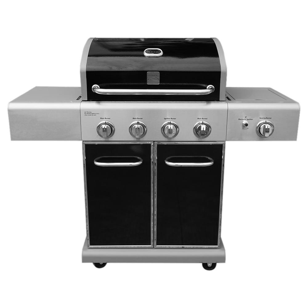 KENMORE 4 Burner Propane Gas Grill in Black with Searing Side Burner