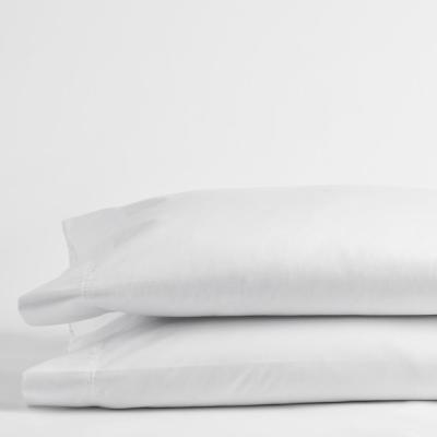 White Solid 300 Thread Count Bamboo Cotton Sateen Standard Pillowcase (Set of 2)