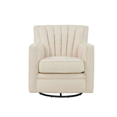Zahara Oatmeal Linen Swivel Arm Chair