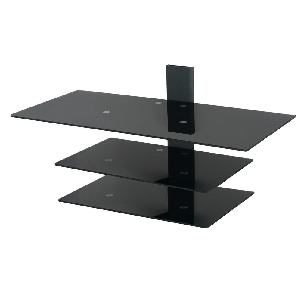 Black Glass Shelves Wall Mounted