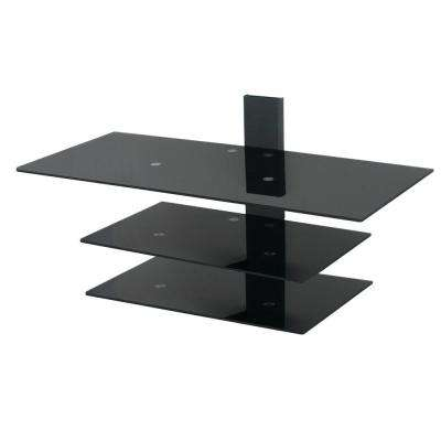 Wall Mounted TV Stand, Glass Shelving System with Safety Straps, Gloss Black