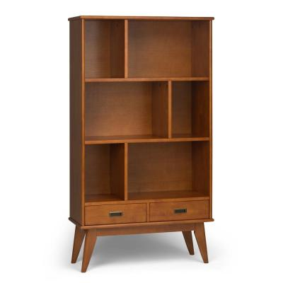 64 in. Teak Brown Wood 6-shelf Accent Bookcase with Drawers
