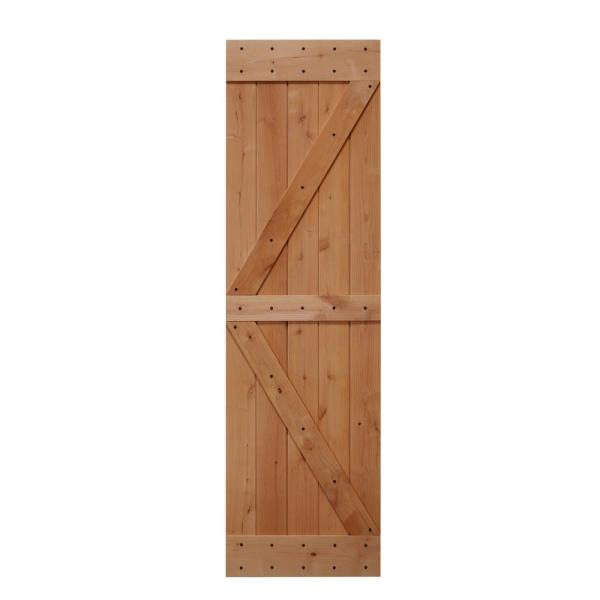 24 in. x 84 in. Ready-to-Assemble British Brace Hardwood Interior Sliding Barn Door Slab with Hardware Kit