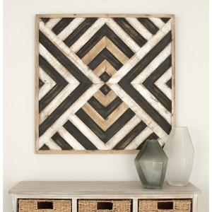 31 inch x 31 inch Brown Wooden Symmetrical-Patterned Wall Decor by