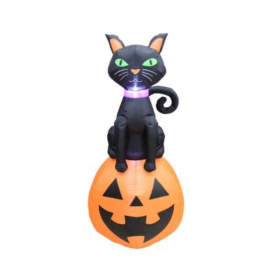 5 ft. Black Cat on Jack O'Lantern Outdoor Halloween Inflatable Decor