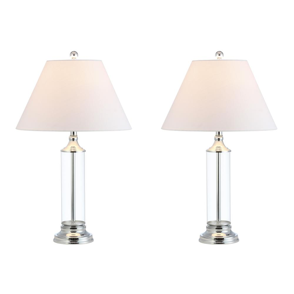 Astor 29 in. Clear/Chrome Glass Table Lamp (Set of 2)