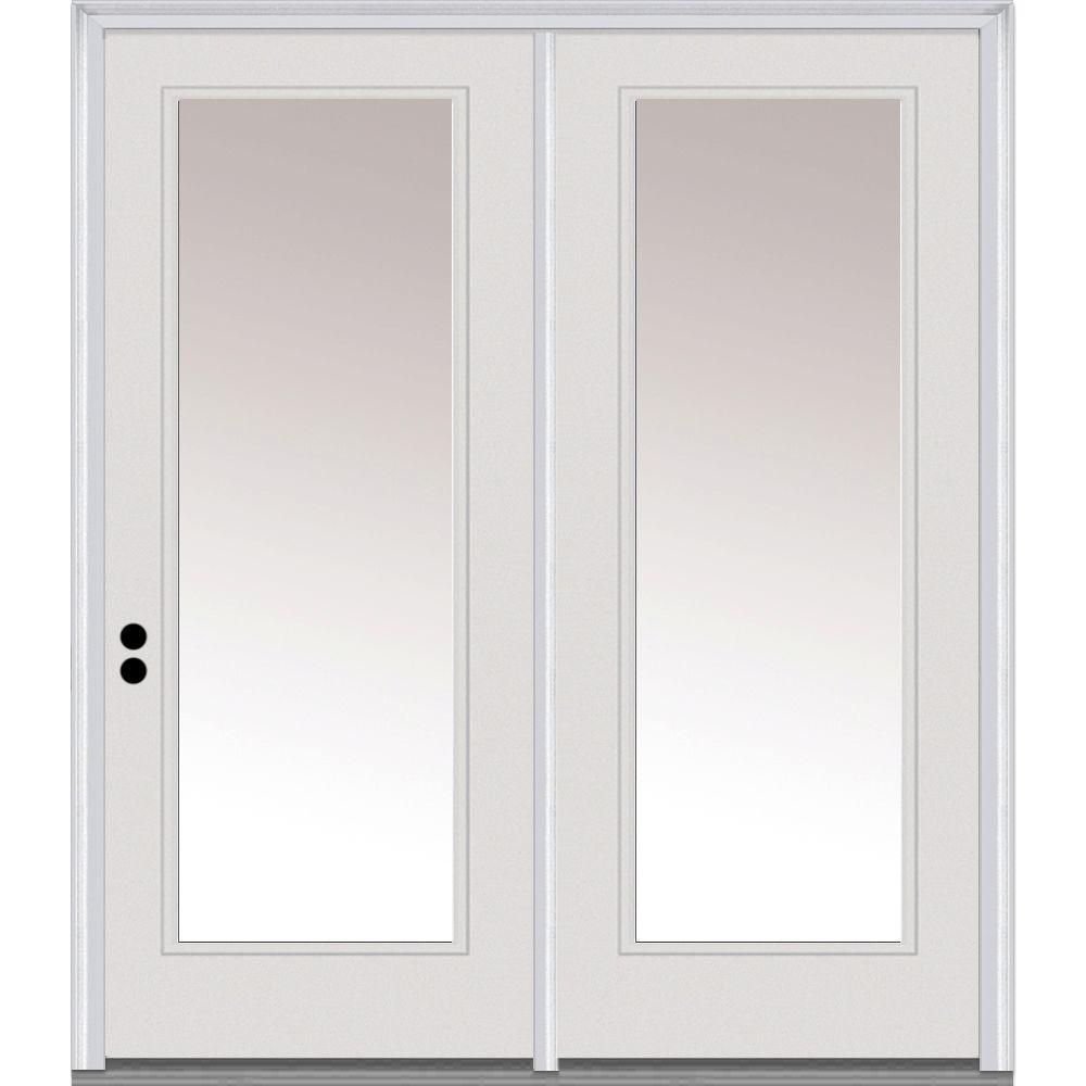 Classic Clear Glass Fiberglass Smooth Prehung Left-Hand Inswing Full Lite Patio Door