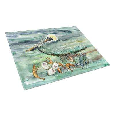 Watery Pelican, Shrimp, Crab and Oysters Tempered Glass Large Heat Resistant Cutting Board