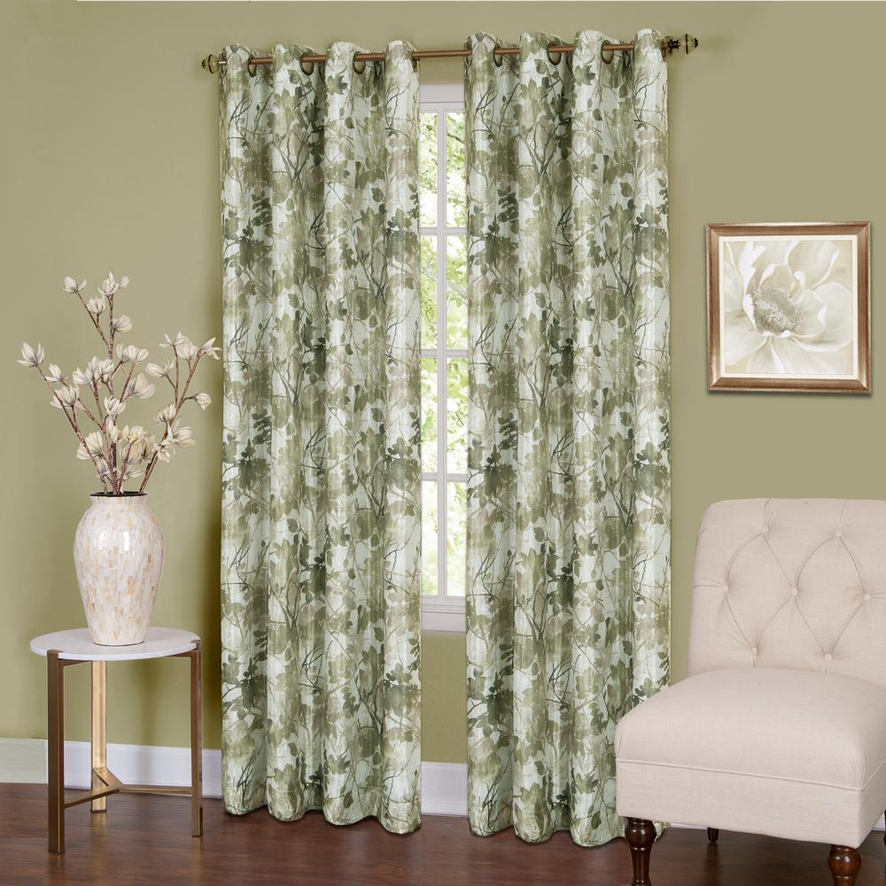 Achim Tranquil  84 in. L Grommet Window Curtain Panel in Green Lined