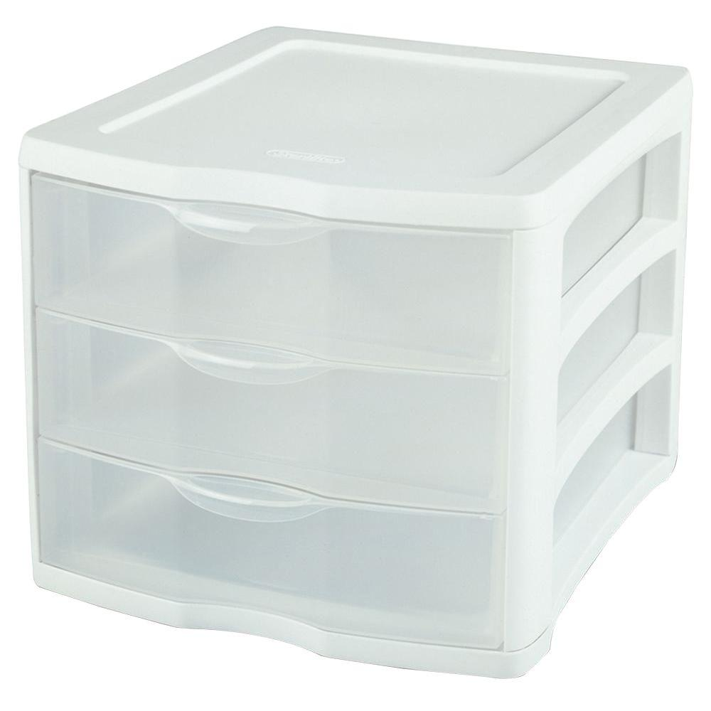 Sterilite Clearview 3 Compartment Plastic Drawer Unit 17918004 The