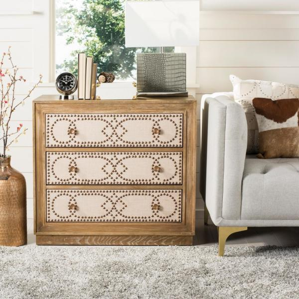 Safavieh Aura 3-Drawer Rustic Oak/Beige Linen/Copper Chest CHS6410A