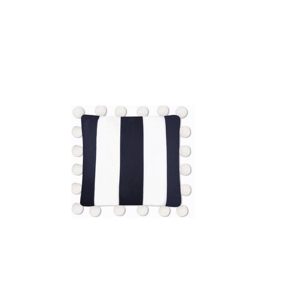 Oversized Pom Pillow Navy Stripe