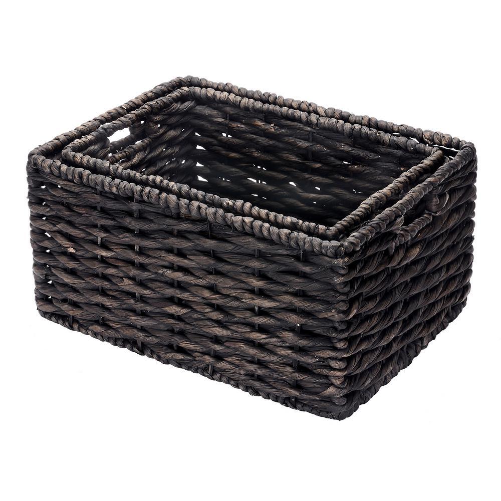 Handmade Water Hyacinth Twisted Wicker Rectangular Nesting Baskets in Black (2-Pack)