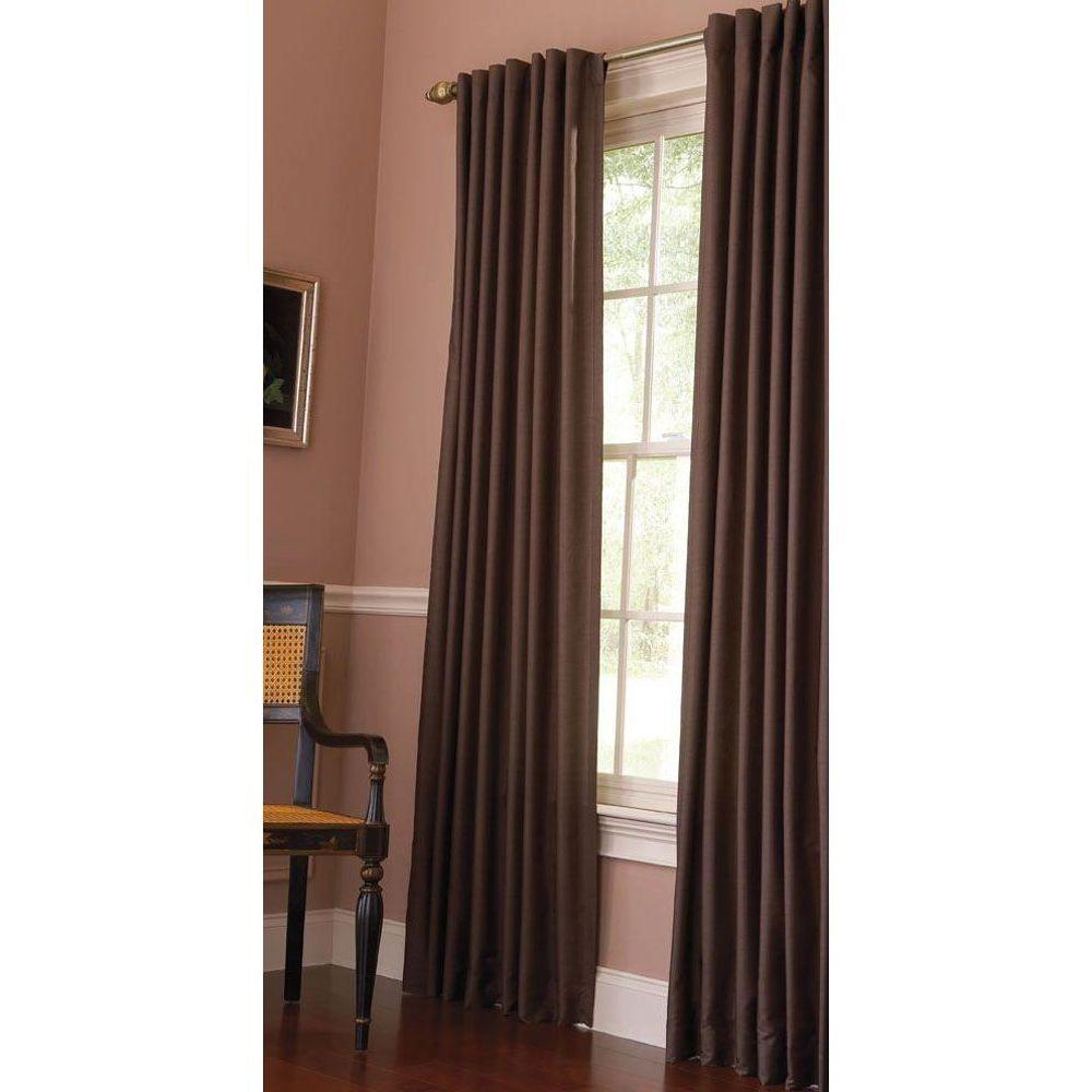 Faux Silk Light Filtering Window Panel in Tilled Soil - 50 in. W x 108 in. L