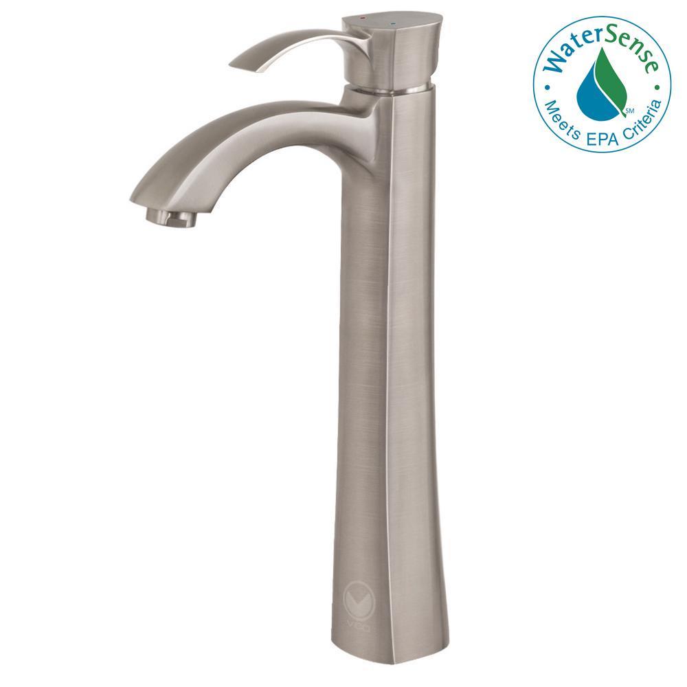 VIGO Otis Single Hole 1-Handle Bathroom Faucet in Brushed Nickel ...