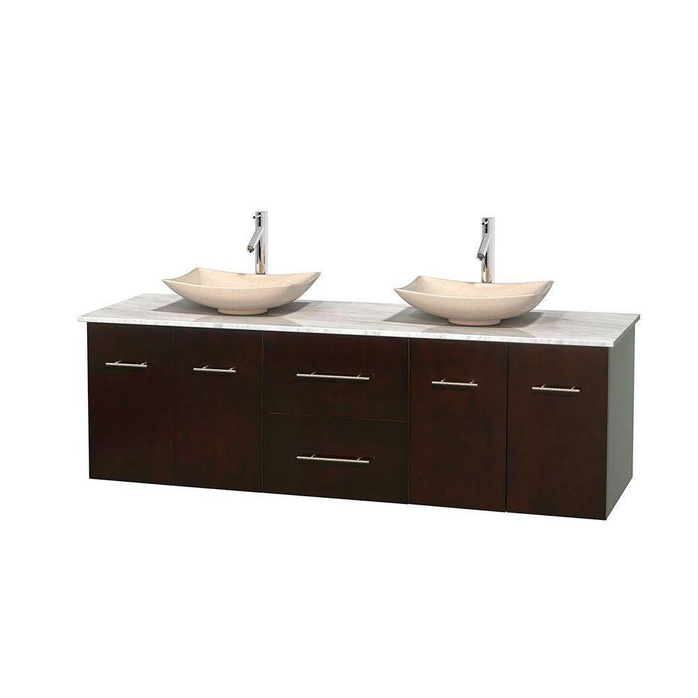 Wyndham Collection Centra 72 in. Double Vanity in Espresso with Marble Vanity Top in Carrara White and Sinks