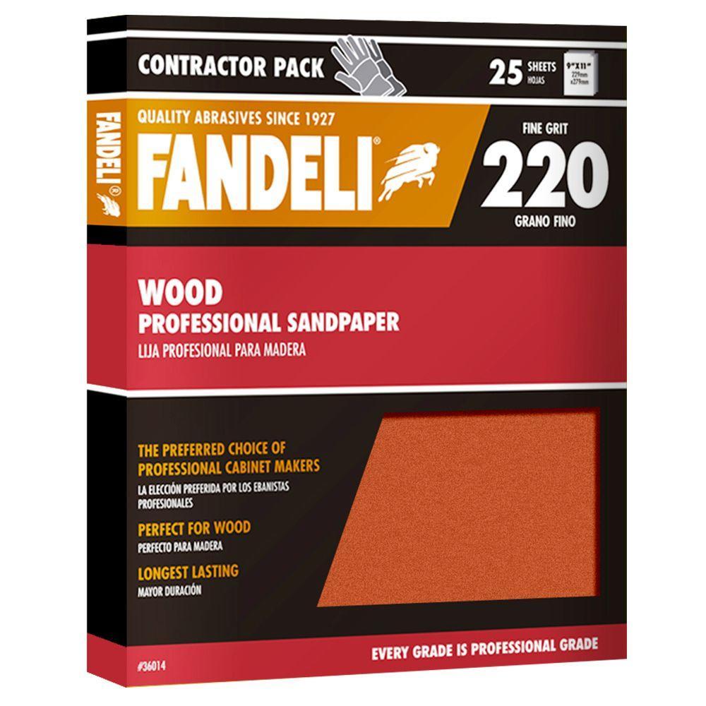 9 in. x 11 in. 220 Grit Fine Aluminum Oxide Sandpaper (25-Pack)