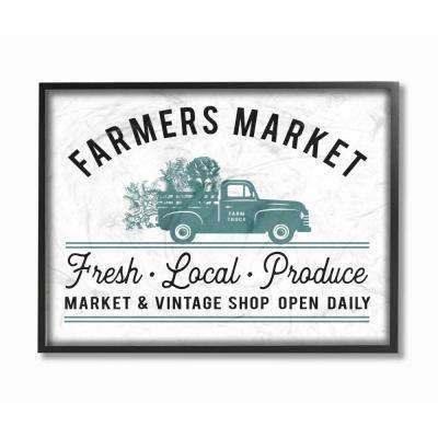 """11 in. x 14 in. """"Farmer's Market Icon Vintage Sign"""" by Lettered and Lined Wood Framed Wall Art"""