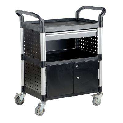 33 in. x 19 in. 3-Shelf Commercial Cart with Doors