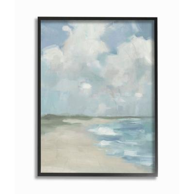 """24 in. x 30 in. """"Impressionist Neutral Blue Green Beach Ocean Painting"""" by Third and Wall Framed Wall Art"""