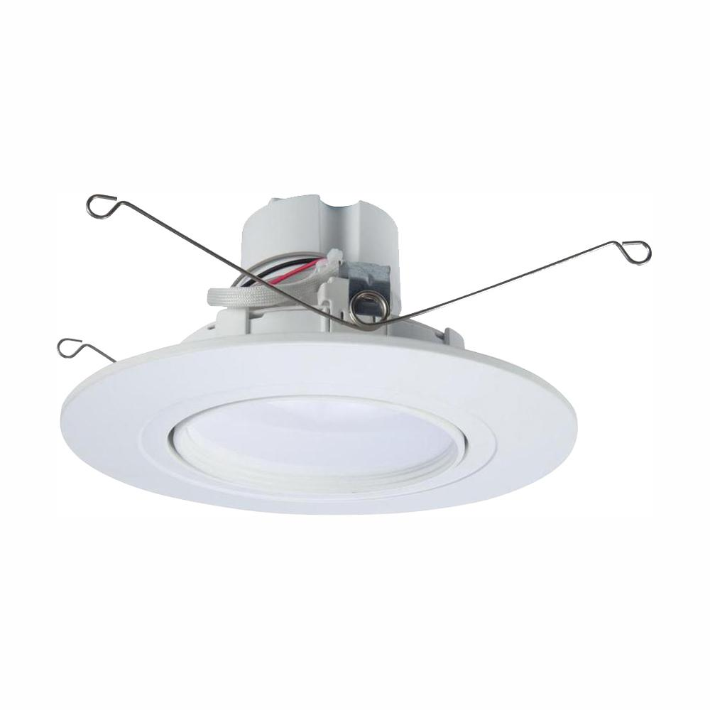 Halo Ra 5 And 6 In White Integrated Led Recessed Light Adjule Gimbal Retrofit Trim With Selectable Cct 2700k 5000k