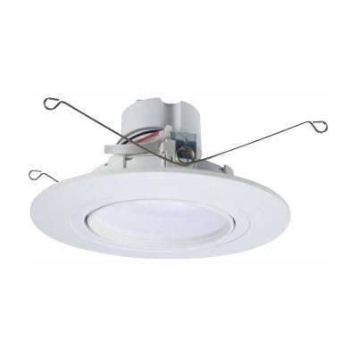 Ra 5 And 6 In White Integrated Led Recessed Light Adjule Gimbal Retrofit Trim With Selectable Cct 2700k 5000k