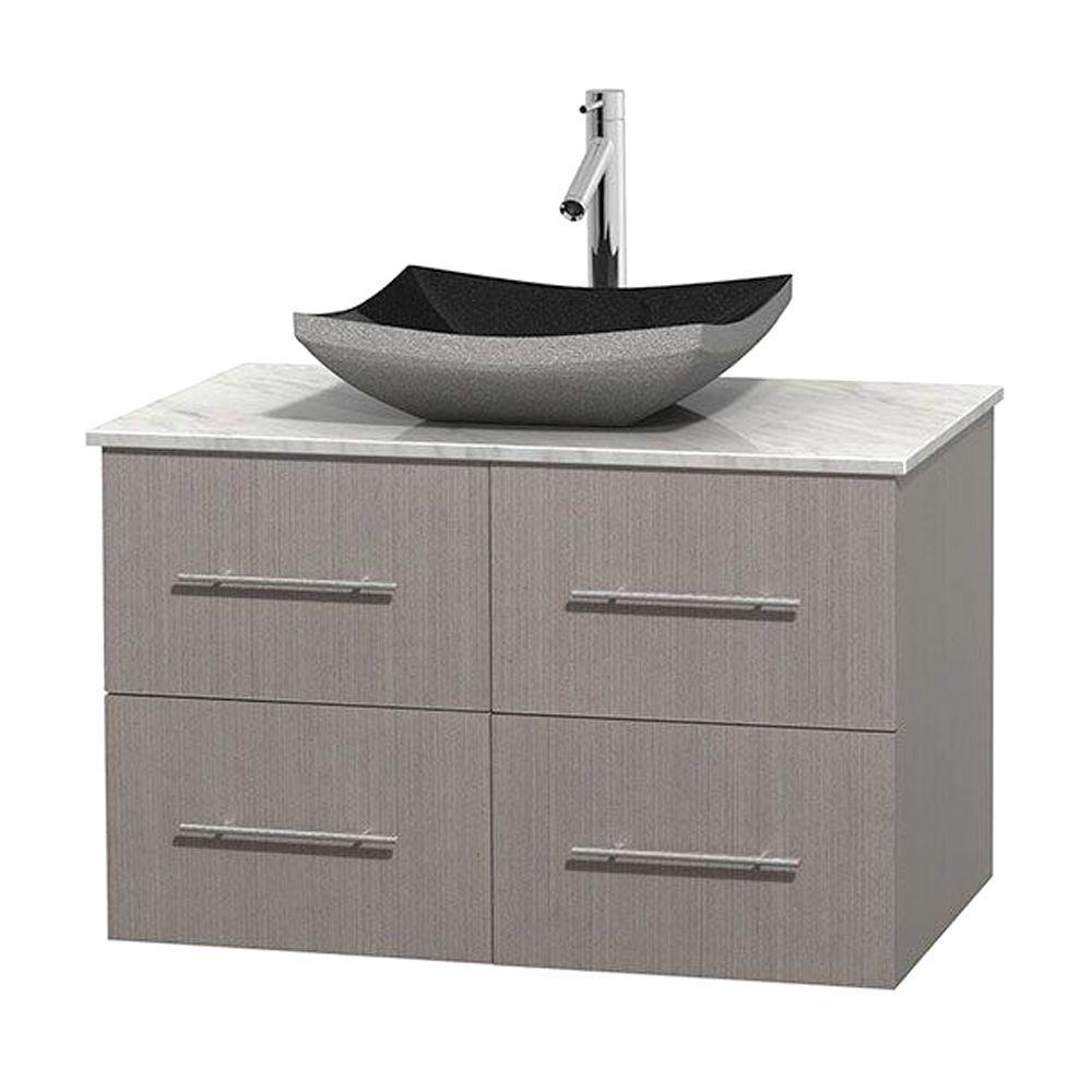 Centra 36 in. Vanity in Gray Oak with Marble Vanity Top