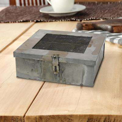 Square Aged Galvanized Metal Box with Compartments with Hinged Lid