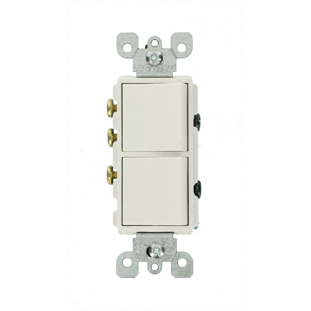 Leviton Decora 15 Amp 3-Way AC Combination Switch, White