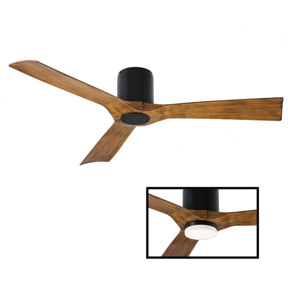 Modern Forms Aviator 54 in. Indoor and Outdoor 3 Blade Smart Flush Mount Ceiling Fan in Matte Black Dark Koa LED Light Kit Adaptable