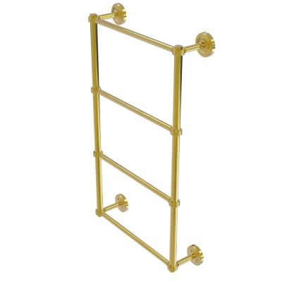 Prestige Regal 4 Tier 30 in. Ladder Towel Bar with Groovy Detail in Polished Brass