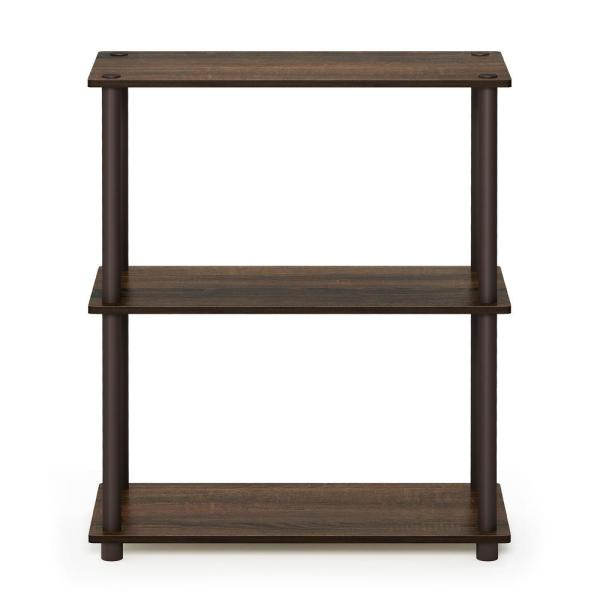 Furinno Turn-N-Tube Compact Walnut/Brown Open Bookcase 10024WN/BR