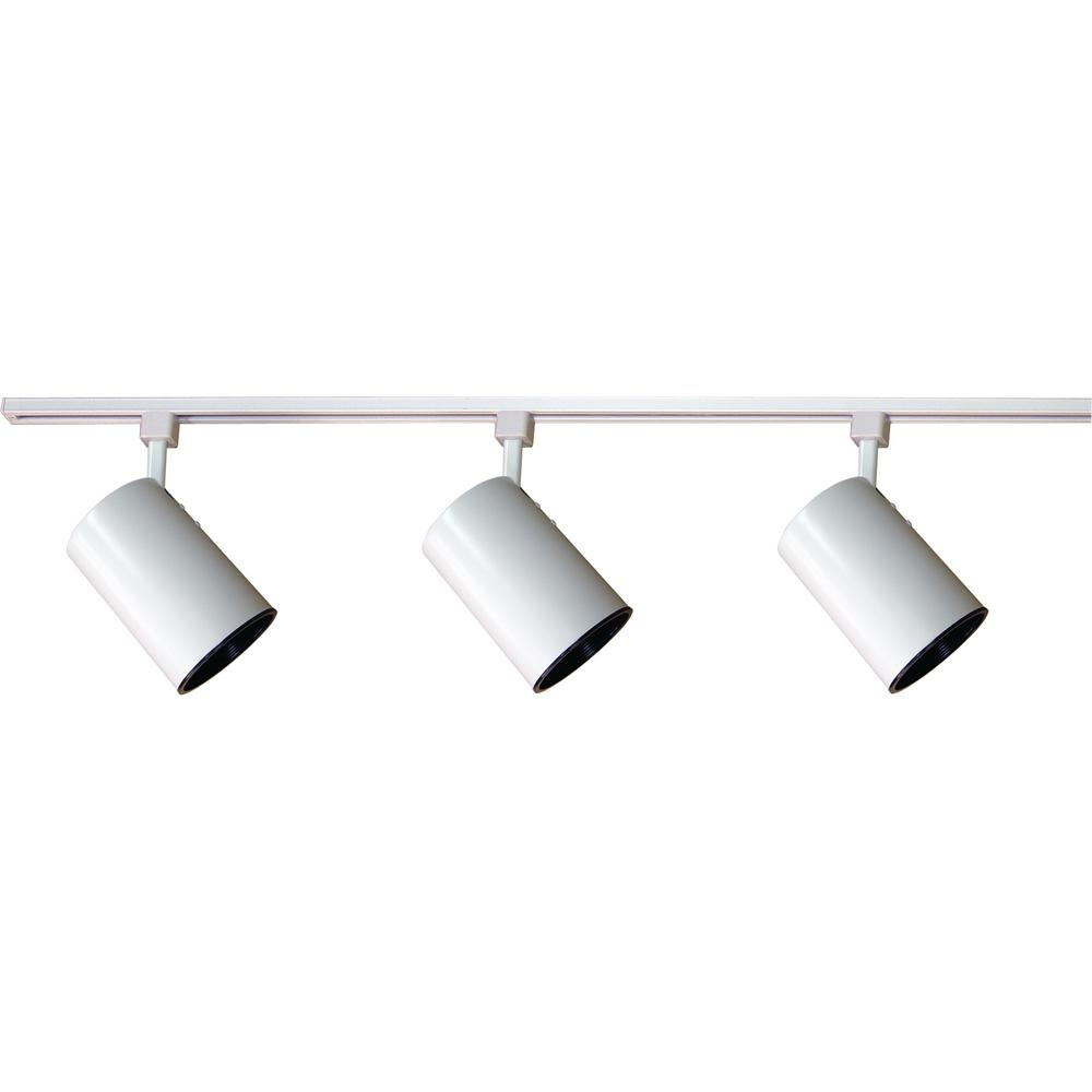 4 Ft. 3-Light Indoor White Track Lighting Kit With 3