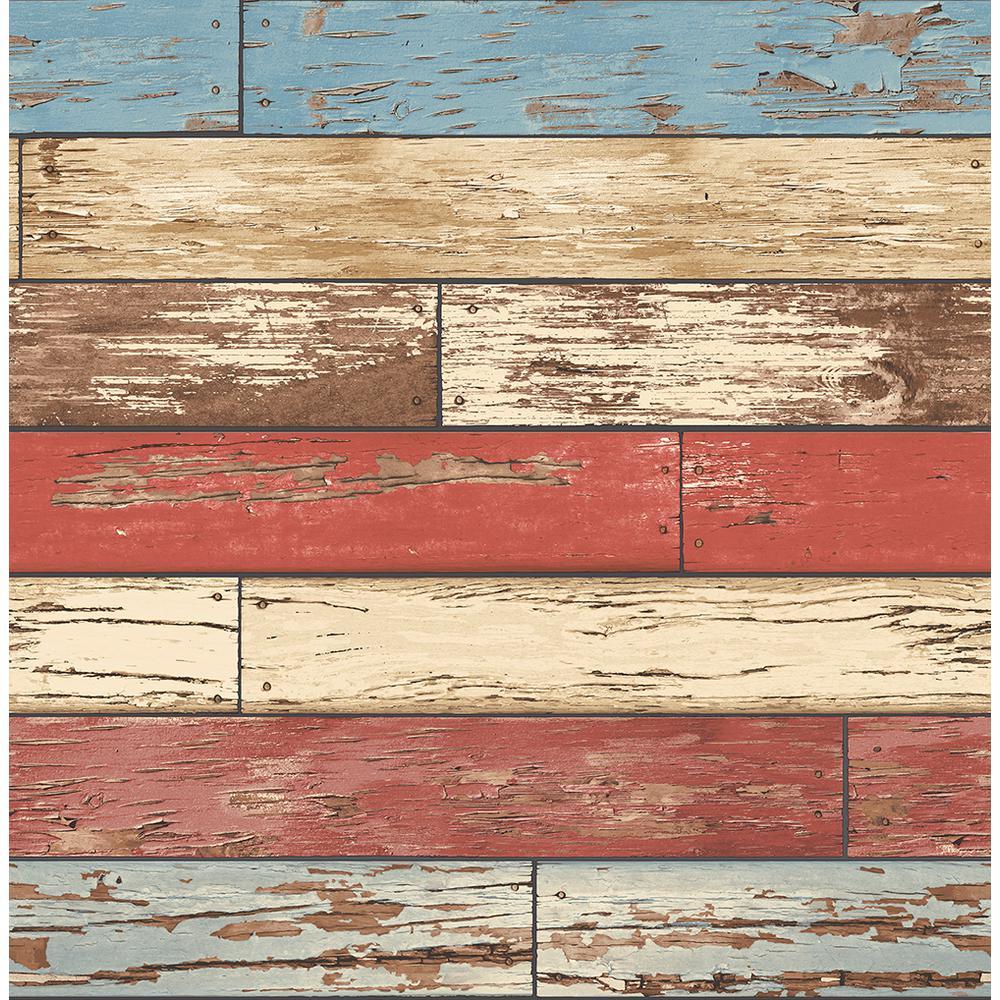 Brewster Levi Red Scrap Wood Wallpaper 2704-22319